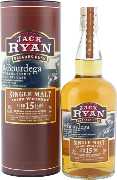 "Jack Ryan Irish Single Malt Whiskey Aged 15 Years Bourbon Barrel Matured Sherry Cask Finished ""The B"